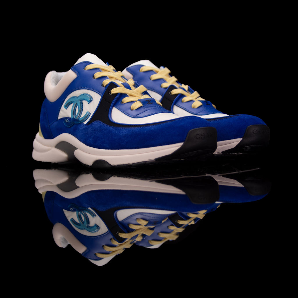 Chanel-CC Sneakers-Pre Order Duration (3-5 Working Days) This item is classed as Women's CC Logo on side Blue, White, Yellow Release: 2019 Limited Release Lambskin Suede Chanel CC crafted in leather and suede fabric sports CC branding on the side. Yellow laces with black sideline finish grabs the spotlight! Sporting royal blue with white and black in contrast and platformed on white rubber sole.-fabriqe.com
