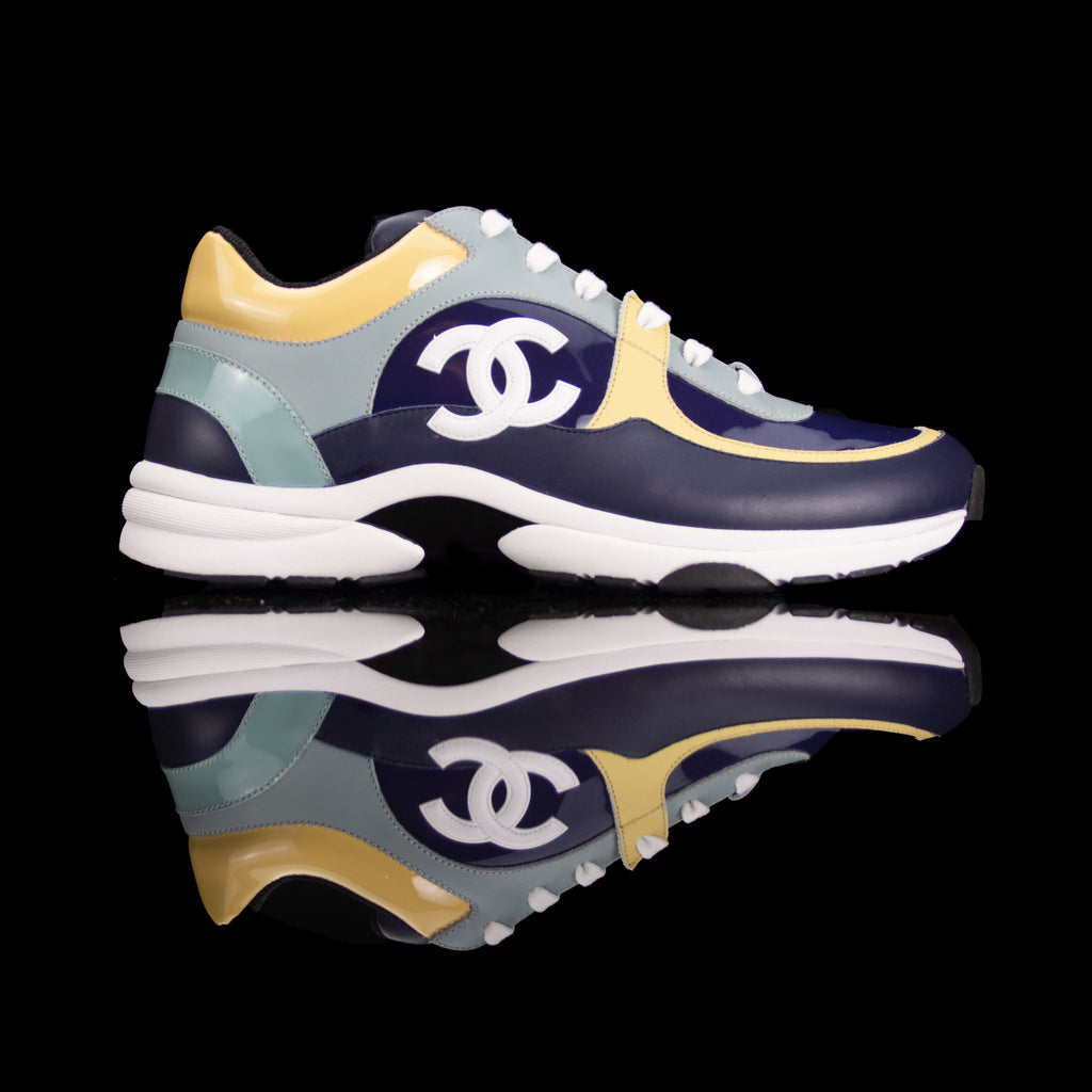Chanel-CC Sneakers-CC Logo on side Multi Patent, Blue Teal, Yellow Rubber Sole 2018 Release Limited Stock-fabriqe.com