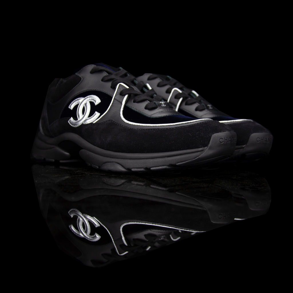 Chanel-CC Sneakers-Pre Order Duration (3-5 Working Days) CC Logo on side Black, Navy, Silver, Grey Release: 2019 Limited Release Lambskin & Velour-fabriqe.com
