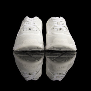 Chanel-CC Sneakers-Pre Order Duration (3-5 Working Days) CC Logo on side White Reflective 3m pipping and Back White Release: 2019 Limited Release Suede Nylon 3m-fabriqe.com