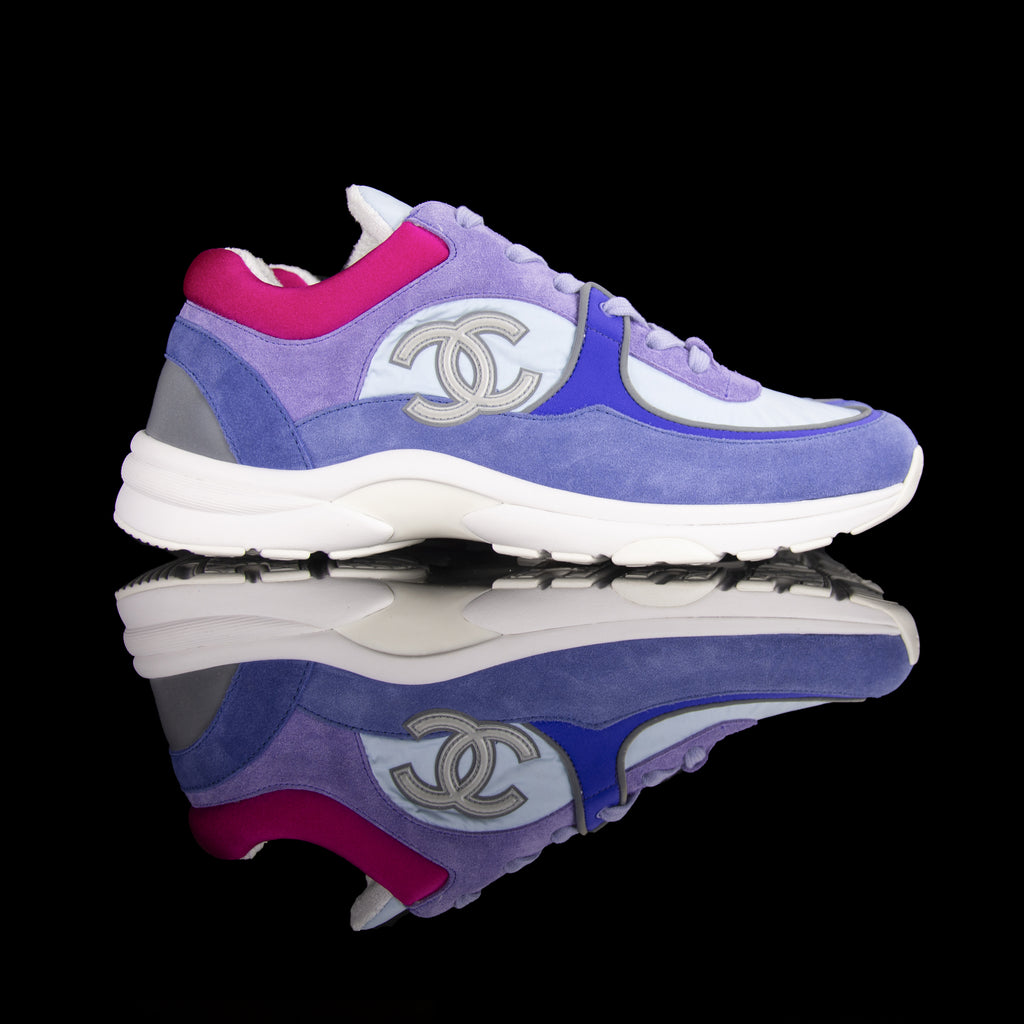 Chanel-CC Sneakers-Pre Order Duration (3-5 Working Days) CC Logo on side Grey Reflective 3m pipping Purple, Blue, Pink Release: 2019 Limited Release Suede Nylon 3m-fabriqe.com