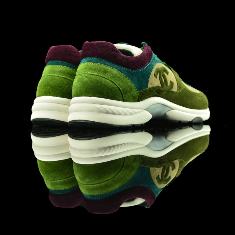 Chanel-CC Sneakers-Pre Order Duration (3-5 Working Days) CC Logo on side Khaki Green, Green, Beige, Burgundy Suede Rubber Sole 2018 Release Limited Stock Chanel CC Sneakers Suede is pre-order exclusive. Uniquely crafted in rich burgundy, khaki green and beige colour suede fabric. These sneakers sport rubber sole with CC branding. Sure thing for sneaker freaks!-fabriqe.com