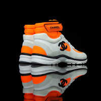 Chanel-CC Sneakers-Pre Order Duration (3-5 Working Days) This item is classed as Women's CC Logo on side G33728 Y52847 K0727 Orange, Grey, White, Black Released 04.2018 Limited Release Lambskin & Suede Calfskin Women's Chanel High top Sneakers Velcro CC is from the new Spring-Summer collection. Made in lambskin and suede calfskin in addition with lace up and velcro combination. Also, Orange and White contrast is the sure thing if your dressing matches the season!-fabriqe.com