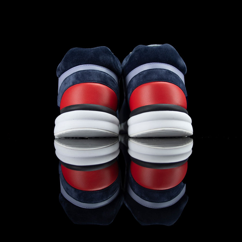 Chanel-CC Sneakers-CC Logo on side Corduroy Material, Leather, Suede. Navy, Grey, Red Rubber Sole 2018 Release Limited Stock-fabriqe.com