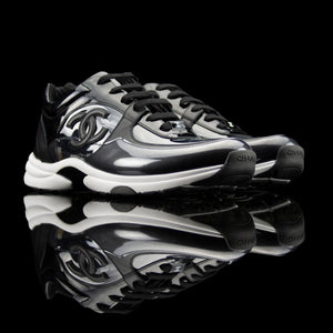 Chanel-CC Sneakers-This item is classed as women's CC Logo on side Black/Transparent Rubber Sole 2018 Release Limited Stock-fabriqe.com