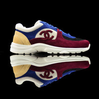 Chanel-CC Sneakers-Pre Order Duration (3-5 Working Days) CC Logo on side Burgundy, Blue, Cream, White, Black Suede, Rubber Sole 2018 Release Limited Stock Womens Chanel CC Sneakers Suede is pre-order exclusive. Crafted in rich burgundy, cream and blue colour suede fabric. These sneakers sport rubber sole with CC branding. Made for women of fashion who take the bold and trendy part.-fabriqe.com