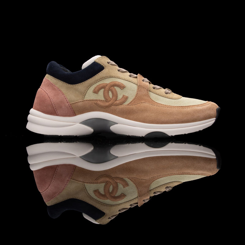 Chanel-CC Sneakers-Pre Order Duration (3-5 Working Days) CC Logo on side Cream, Pink, Navy Suede, Rubber Sole 2018 Release Limited Stock Womens Chanel CC Sneakers Suede is pre-order exclusive. Crafted in pink, cream and navy colour suede fabric. These sneakers sport rubber sole with CC branding. Made for people of fashion who take the bold and trendy part.-fabriqe.com