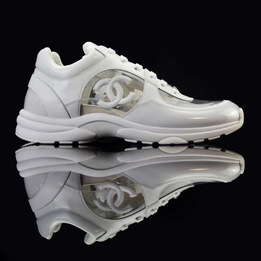 Chanel-CC Sneakers-This item is classed as Women's CC Logo on side White/Transparent Rubber Sole 2018 Release Limited Stock-fabriqe.com