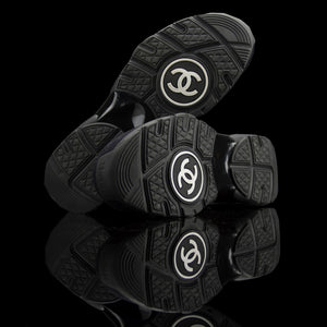 Chanel-CC Sneakers-Pre Order Duration (3-5 Working Days) CC Logo on side Black Rubber Sole 2018 Release Limited Stock Chanel CCs crafted in mixed fabric sports CC branding on the side. Nylon at vamp, leather touch at back and suede line finish grabs the spotlight! In the 2018 limited release the sneakers carry Chanel typography on the rubber sole. Pre-order Exclusive!-fabriqe.com