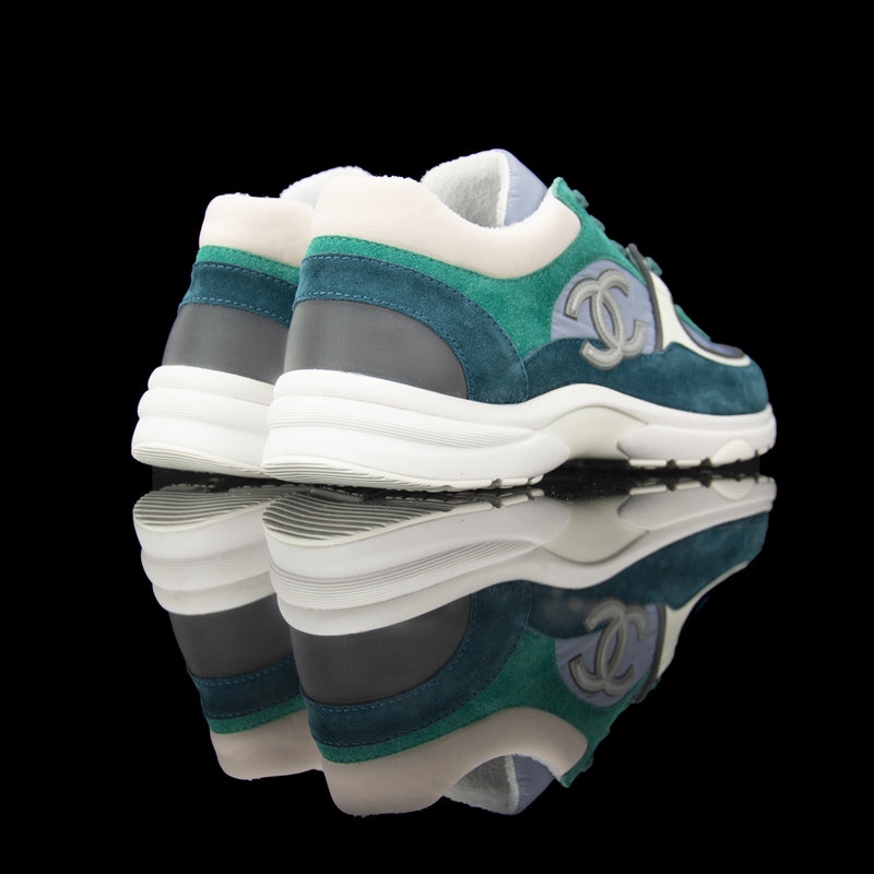 Chanel-CC Sneakers-Pre Order Duration (3-5 Working Days) CC Logo on side Grey Reflective 3m pipping and back Grey Green Release: 2019 Limited Release Suede Nylon 3m-fabriqe.com