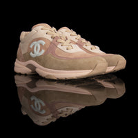 Chanel-CC Sneakers-Pre Order Duration (3-5 Working Days) This item is classed as Women's CC Logo on side Beige, Pink, Release: 2019 Limited Release Lambskin Suede-fabriqe.com