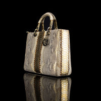 Christian Dior-Hand Bag-Python Skin Gold Brown, Gold Large Exclusive Release Length: 32 cm Width: 9 cm Height: 25 cm Handle Drop: 10 cm Interior Material: Leather Shoulder Strap: 45 cm Hardware: Gold Tone Release Date: 2013 Italy-fabriqe.com