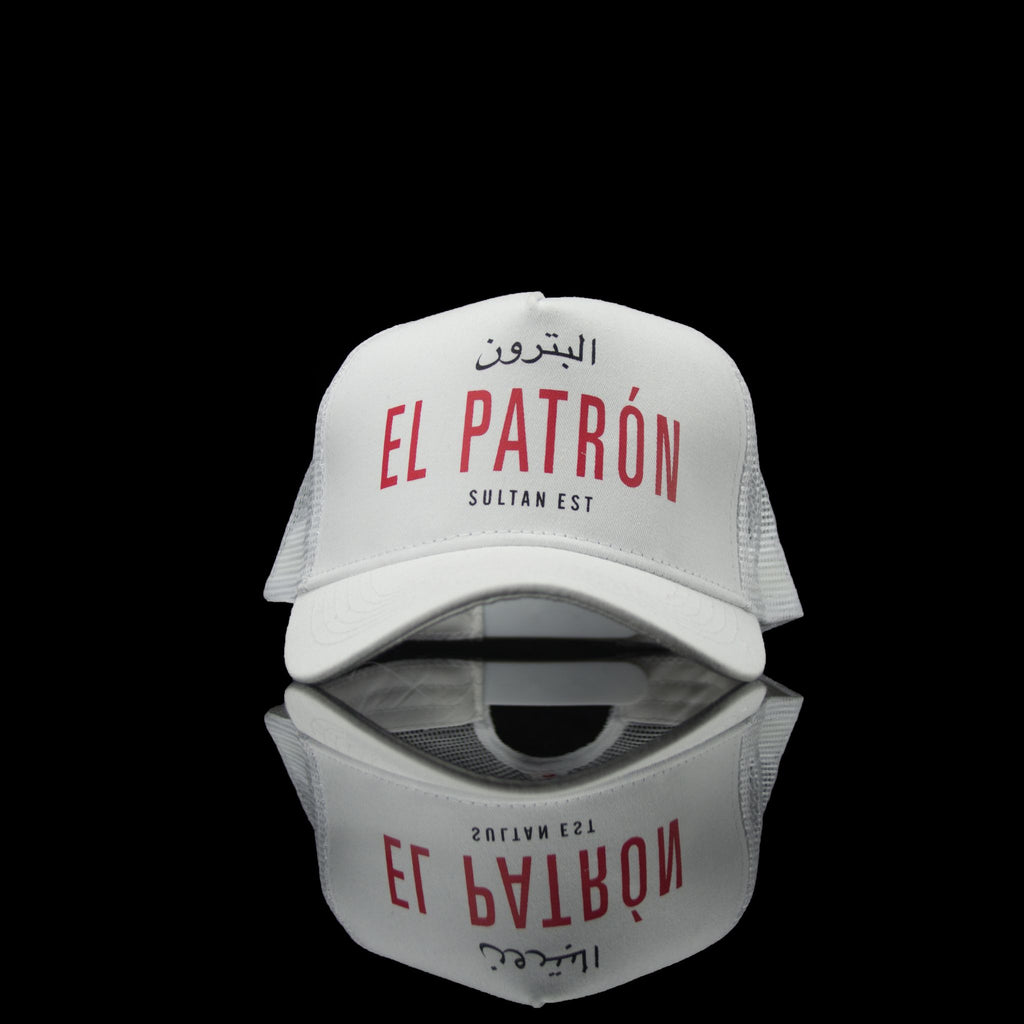 Sultan Est-Cap-El Patron (Arabic) One Size Fits All White Red-fabriqe.com