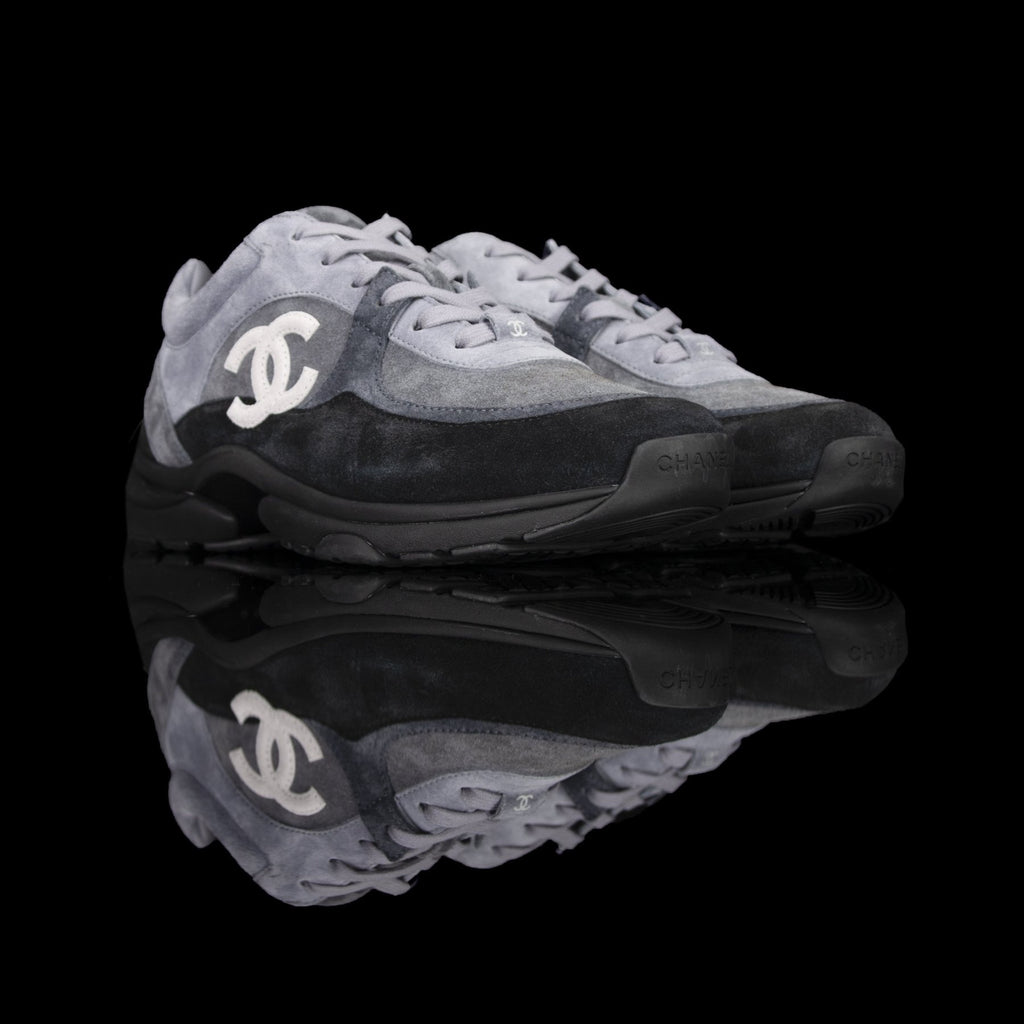 Chanel-CC Sneakers-Pre Order Duration (3-5 Working Days) CC Logo on side Grey Black Suede. Rubber Sole 2019 Release Limited Stock-fabriqe.com