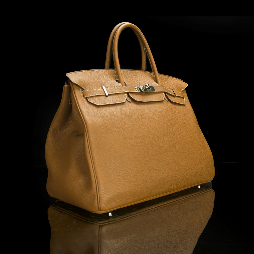 Hermes-Birkin 40-BROWN SILVER-Designer Style: ID Square Size: 40 Hardware: Silver Release Date: 2017 Colour: Brown Made in France Material: Grained Leather 100%, Silver-fabriqe.com