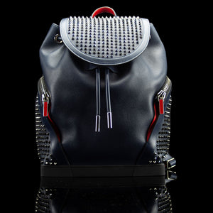 Christian Louboutin-Backpack-Navy Blue Leather Outer Metal Spikes Magnetic Closure Rubber Bottom-fabriqe.com