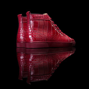 Christian Louboutin-Louis Flat High-Colour: Dark Red Release Date: 2018 Exclusive, Limited Release Material: Alligator Leather, Rubber Sole-fabriqe.com