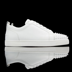 Christian Louboutin-Louis Junior Low Spikes-Color :White Material : Matte Collection : Classic-fabriqe.com