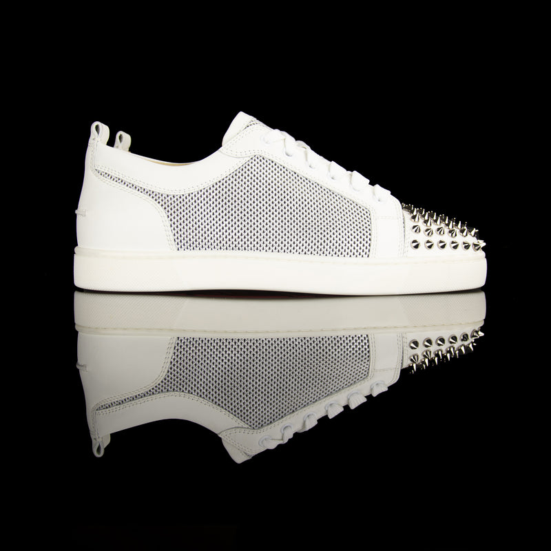 Christian Louboutin-Louis Orlato Flat Spikes-Colour: White, Silver 2017 Release Material: Calf skin leather, Metal spikes-fabriqe.com