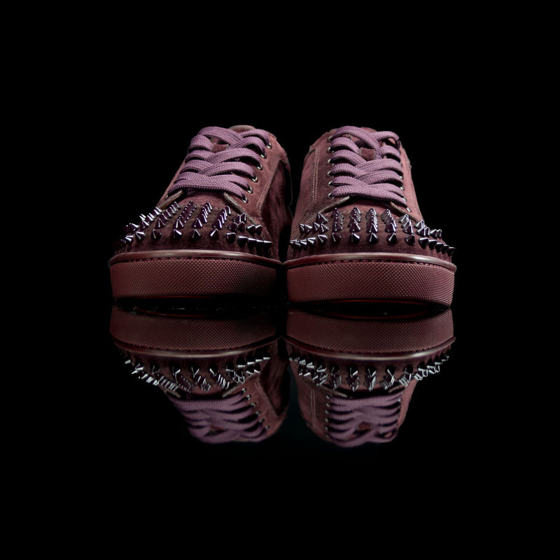 Christian Louboutin-Louis Junior Low Spikes-Product Code: Colour: Lie De Vin-Maroon 2013 Release, Discontinued Material: Leather Mesh Patent-fabriqe.com