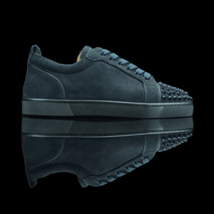 Christian Louboutin-Louis Junior Low Spikes-Product Code: 3160934 Colour: Fusain - Grey Charcoal 2015 Release Limited Stock Material: Suede Velours, Metal Spikes-fabriqe.com