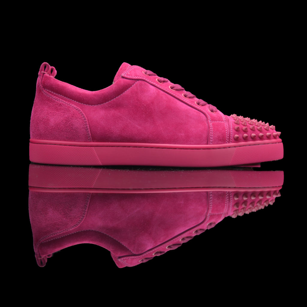 Christian Louboutin-Louis Junior Low Spikes-Product Code: 1130575 Colour: Fusain - Rosa-Pink 2015 Release Limited Stock Material: Suede Velours, Metal Spikes-fabriqe.com