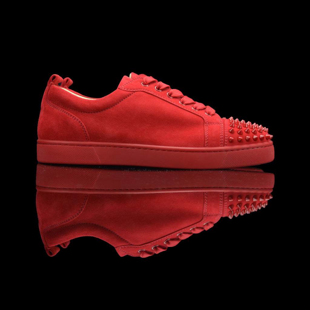Christian Louboutin-Louis Junior Low Spikes-Product Code: 3150567 Colour: Oelillet-Red 2016 Release Limited Stock Material: Suede Velours, Metal Spikes-fabriqe.com