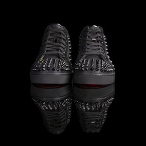 Christian Louboutin-Louis Orlato Flat Spikes-Colour: Black 2018 Release Material: Metal Spikes, Patent back, Suede trimming. Metal Spikes Discontinued-fabriqe.com