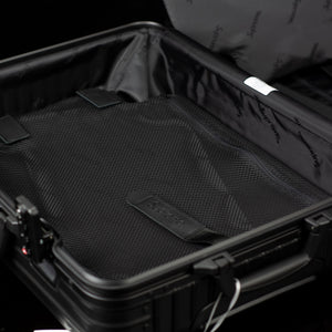 Rimowa-Suitcase-Colour: Black Exclusive-Limited Stock Aluminium/Aluminum, Plastic Handle Supreme X Rimowa Topas brings you the multiwheel suitcase. Designed exclusively for Supreme in aluminium bodies by Rimowa. Also, this suitcase feature TSA combination locks and rolling multiwheels. Made in Black colour of 45L carry on size. So, where you rolling it to this Spring?-fabriqe.com