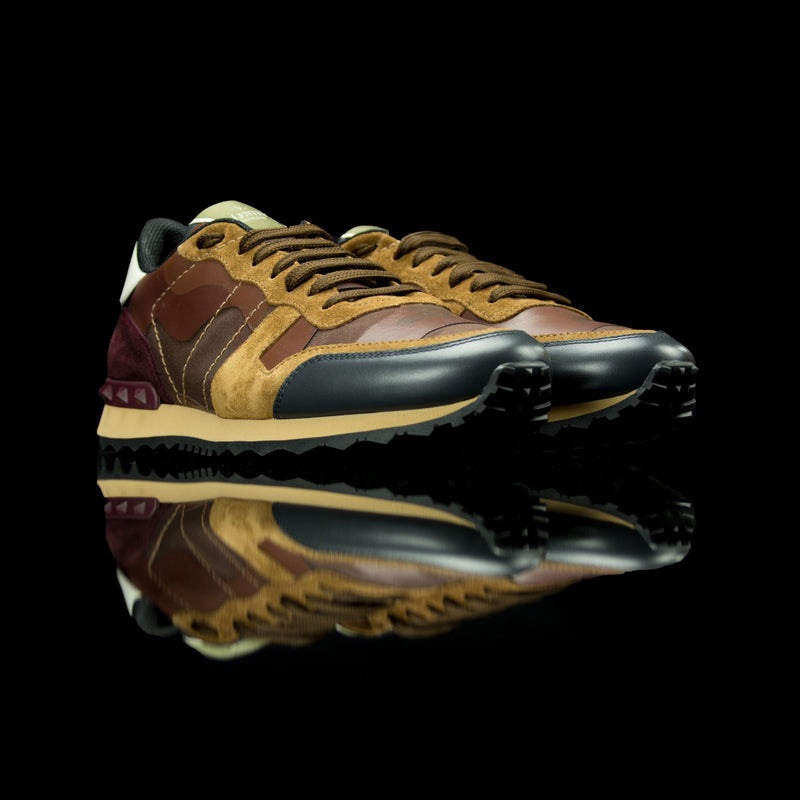 Valentino-Rockstud Sneakers-Product Code: MY2S0723 Colour: Brown Camo 2017 Release Material: Leather, Suede-fabriqe.com