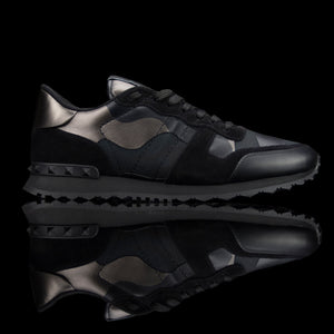 Valentino-Rockstud Sneakers-Product Code: PY2S0723 Colour: Black Silver Camo Limited Stock 2017 Release Material: Leather, Suede, Canvas-fabriqe.com