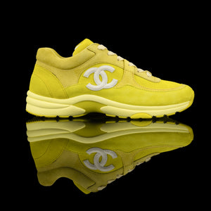 Chanel-CC Sneakers-Pre Order Duration (3-5 Working Days) CC Logo on side Yellow Suede, Rubber Sole 2019 Release Limited Stock-fabriqe.com