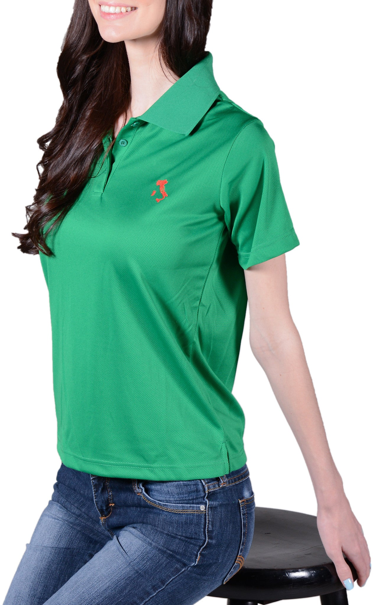 Ladies green italy polo shirt featuring the map of italy for Green italy