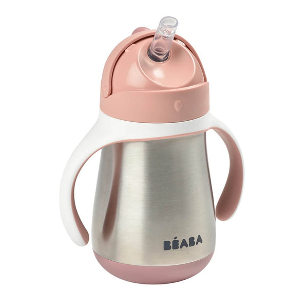 Beaba Stainless Steel Straw Cup - Vintage Pink