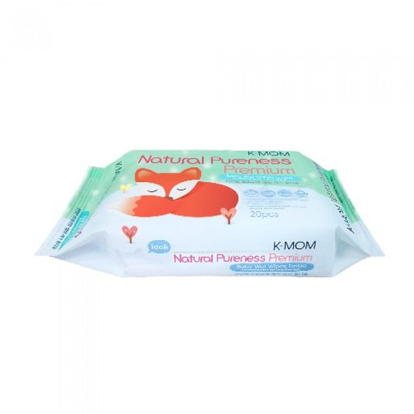 K-Mom Natural Pureness Premium Baby Wet Wipes Embo (20 Pcs)