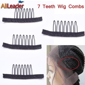 Alileader 12PCS Black Best Clips For Hair Extensions Stainless Steel Wig Combs For Wig Caps Cheap Clips For Wig Factory Supply
