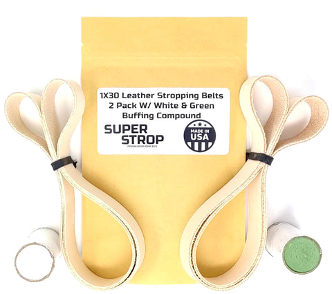 2 Pack Super Strop 1x30 Leather Honing Polishing Belts fits Harbor Freight and Other Popular Belt Sanders