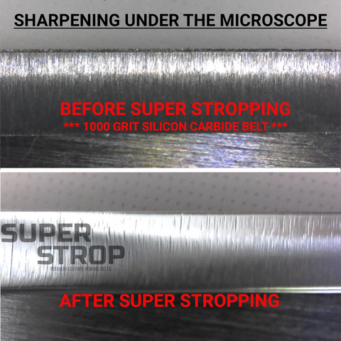 Microscopic view of Knife Sharpening