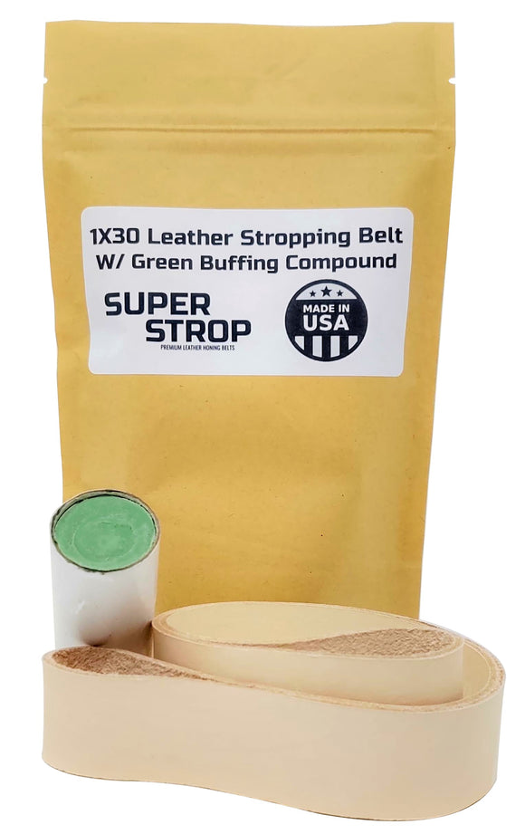1x30 in. Leather Honing Belt SUPER STROP W/ GREEN Compound fits 1x30 Belt Sanders Razor Sharp Edge