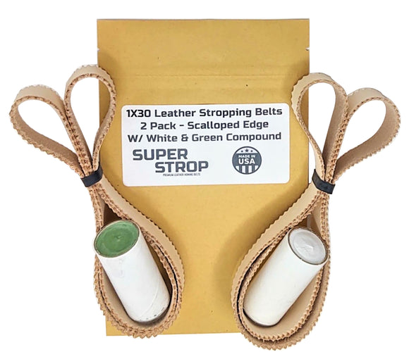 1X30 Super Strop Scalloped Edge Leather Honing & Polishing Belt for Polishing and Stropping Tight Radius