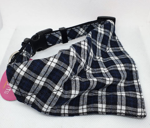 NAVY BLACK CHECKED BANDANA SCARF+ADJ. COLLAR 15X270-400MM