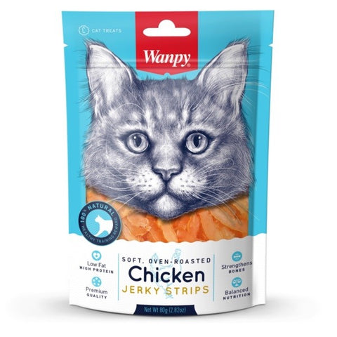 WANPY SOFT CHICKEN JERKY STRIPS CAT TREATS 80G