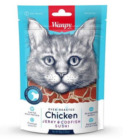 WANPY CHICKEN & CODFISH SUSHI CAT TREAT 80G BAG