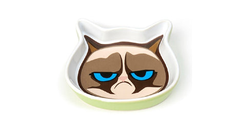 GRUMPY CAT FACE SHALLOW SAUCER GREEN