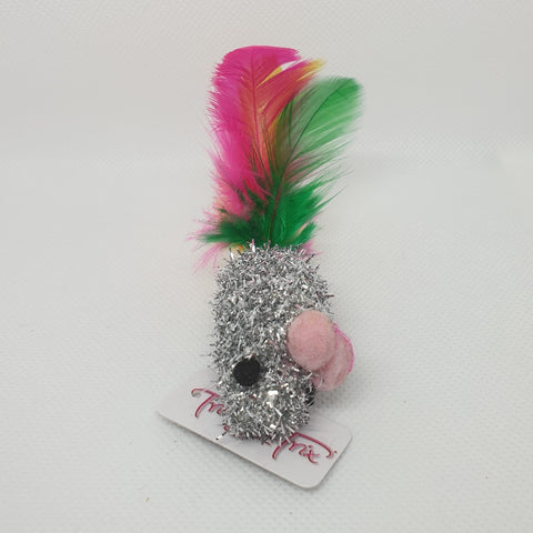 CT T&T TINSEL MOUSE WITH FEATHER