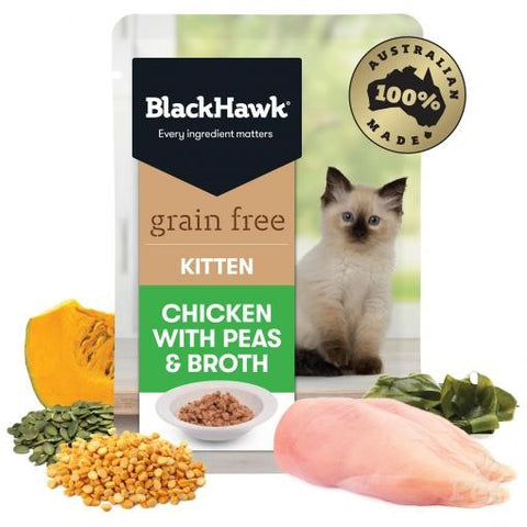 BLACK HAWK KITTEN CHICKEN WITH PEAS & BROTH - 85g