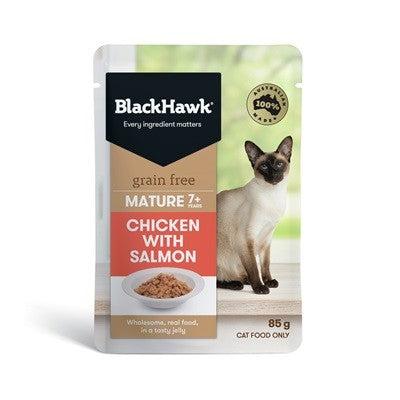 BLACK HAWK MATURE CAT CHICKEN WITH SALMON - 85g