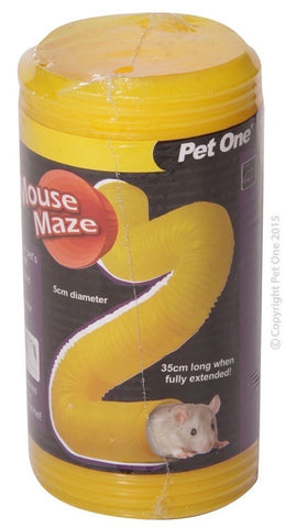 PET ONE TUNNEL MOUSE MAZE 5CM DIA X35CM L YELLOW