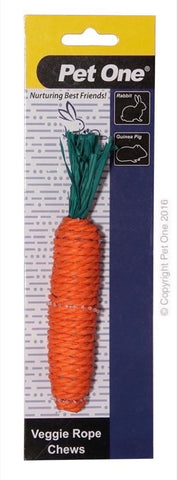 PET ONE VEGGIE ROPE CHEWS FOR SMALL ANIMALS - CARROT (M)