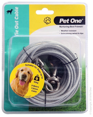 PET ONE TIE OUT CABLE 9M 4.8MM FOR DOGS UP TO 45KG